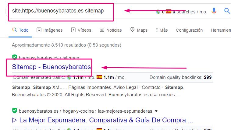 buscar un sitemap con comandos de google para el Key Research
