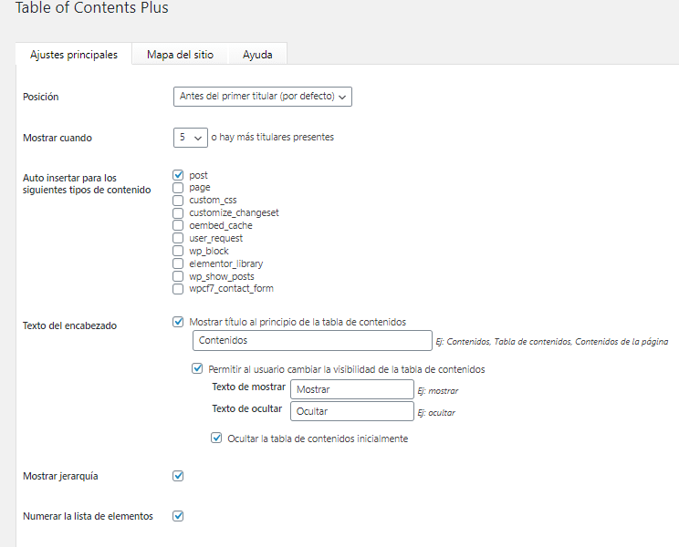 configurando table of content plus