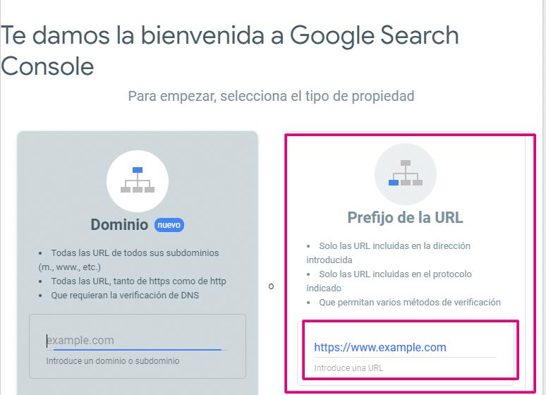 elegir el tipo de propiedad en search console 2