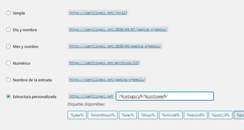 modificando los enlaces permanentes